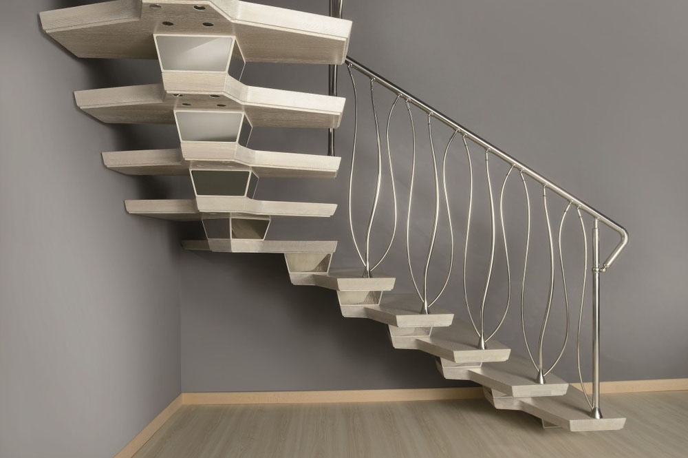 Central spine staircases bespoke and modular central spine for Double curved staircase