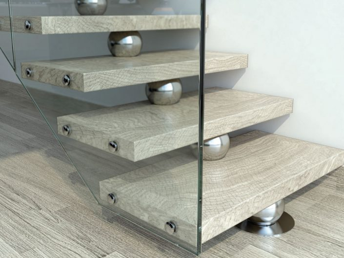Central spine staircases travertine finished resin treads frameless glass stair balustrade