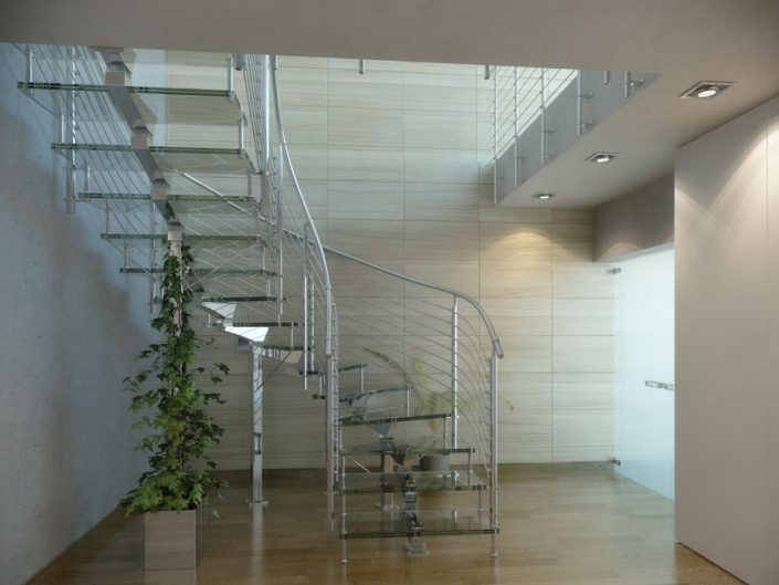 Central spine staircases feature glass treads with polished traversal rod balustrade