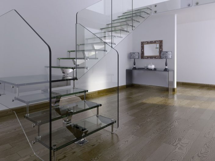 Central spine staircase glass treads with frameless glass balustrade triangular sectional central spine