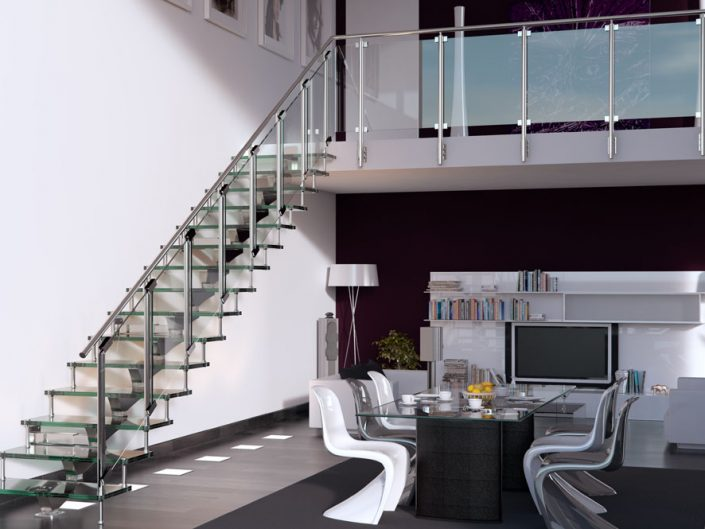 Central spine staircases modular spine glass treads with stainless steel and glass balustrade
