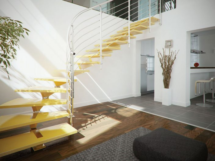 Central spine staircases modular spine with yellow finished beech stair treads