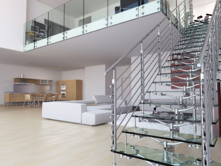 Central spine staircases glass stair treads modular alloy spine traversal rods balustrade
