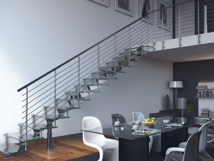 Central spine staircases modular polished central spine glkass stair treads with traversal rod balustrade