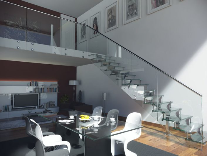 Central spine staircases polished ally modular spine glass treads and frameless glass balustrade