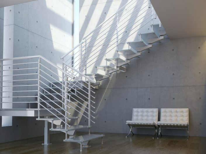 Central spine staircases in white alloy modualr construction and traversal rods