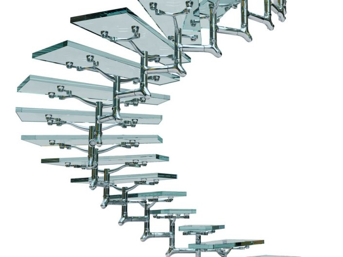 Central spine staircases curved modular spine in polished alloy glass stair treads