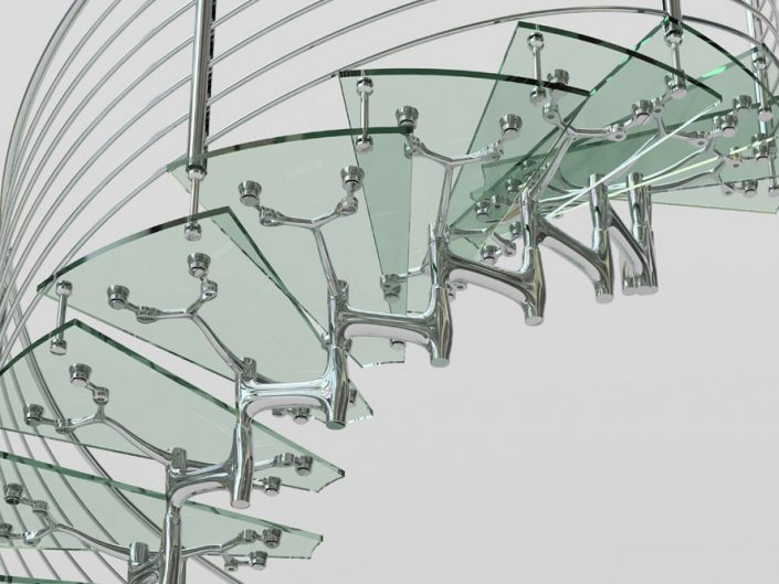 Central spine staircases glass treads polished alloy modular style spine with traversal rod balustrade