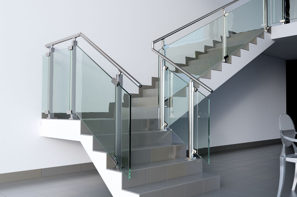 Stainless steel glass stair landing balustrade stairs - Home designer stairs with landing ...