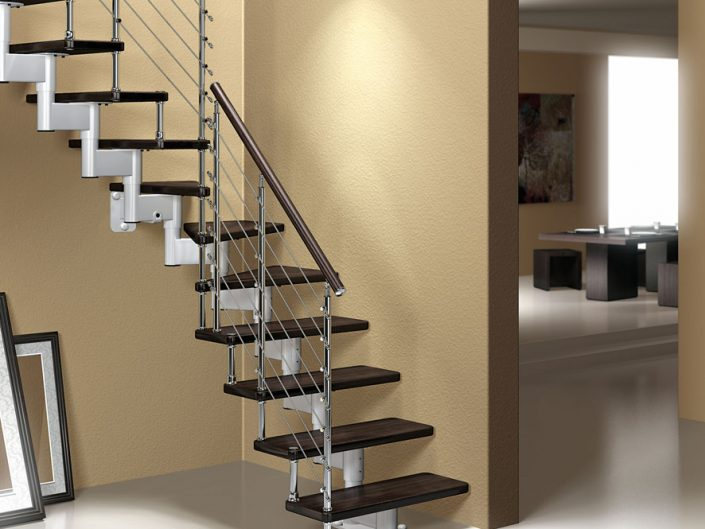 Central spine staircases modular space saving stair